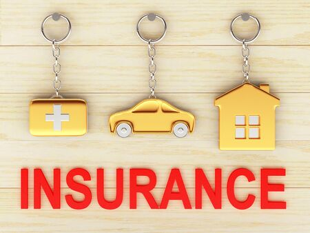 first aid kit key: Set of golden keychains in the form of the house, car and medical suitcase and red word INSURANCE on wooden background. 3d illustration. Stock Photo