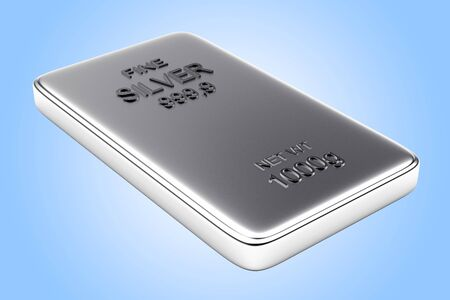 silver bar: Banking concept. Flat silver bar on blue background. Stock Photo