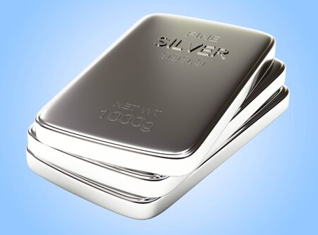 silver bars: Stack of flat silver bars on blue background