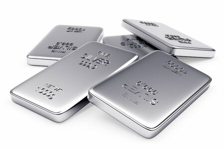 silver bars: Banking concept. Flat silver bars isolated on a white background. Stock Photo