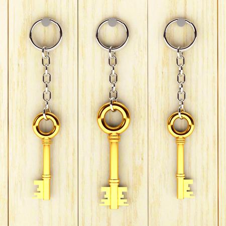 home owner: Set of golden keys is hanging on the wooden wall. 3d illustration