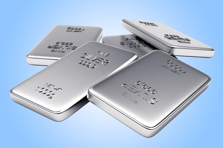 silver bars: Banking concept. Heap of flat silver bars on blue background.