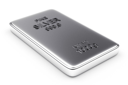silver bar: Banking concept. Flat silver bar isolated on white. Stock Photo