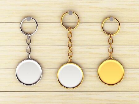 keychains: Set of blank round golden and silver keychains is hanging on the wooden wall. 3d illustration Stock Photo