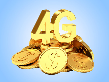gprs: Investments in modern technology. 4G symbol on a pile of golden coins on blue background.