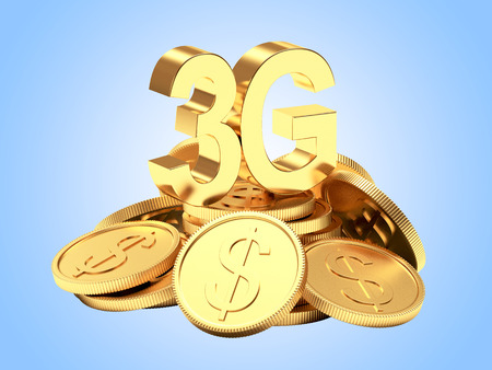 3g: Investments in modern technology. 3G symbol on a pile of golden coins on blue background. Stock Photo