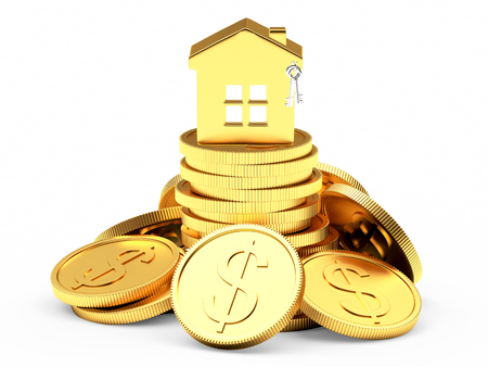 buy sell: Golden house on a pile of coins isolated on white background. Stock Photo