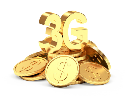 3g: Investments in modern technology. 3G symbol on a pile of golden coins isolated on white background. Stock Photo