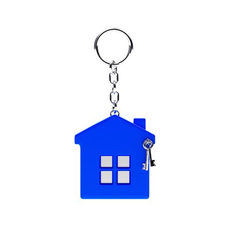 key chain: Blue key chain in the form of a house isolated on white background. Stock Photo