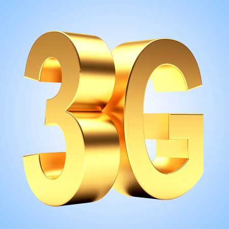 3g: 3g mobile wireless communication symbol on blue background.