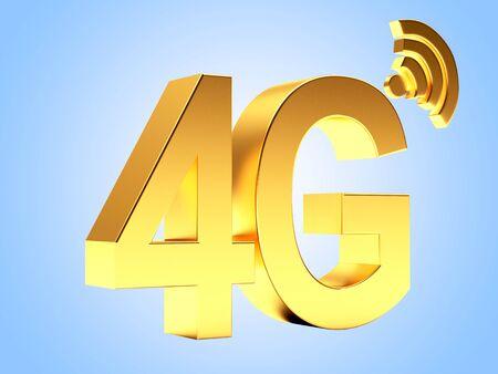 gprs: 4g mobile wireless communication golden symbol on blue background. Stock Photo