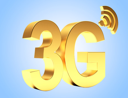 3g: 3g mobile wireless communication golden symbol on blue background.