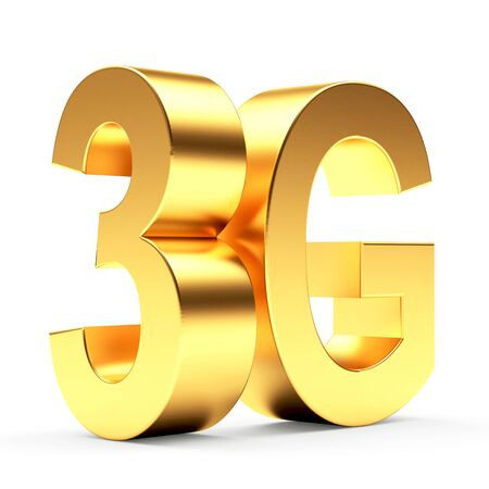 3g: 3g mobile wireless communication golden symbol isolated on white background.