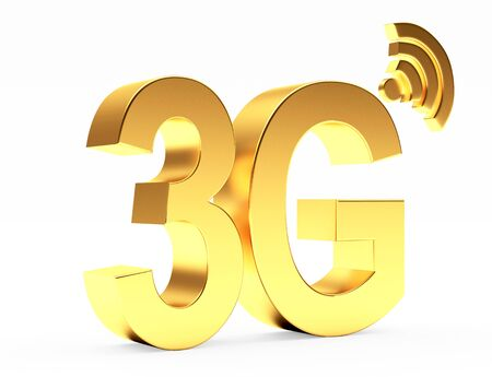 3g: 3g mobile wireless communication golden symbol isolated on white background.