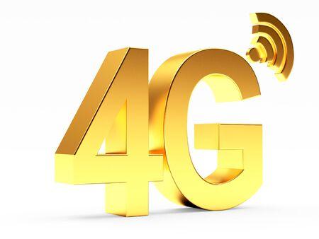 wireless: 4g mobile wireless communication golden symbol isolated on white background. Stock Photo