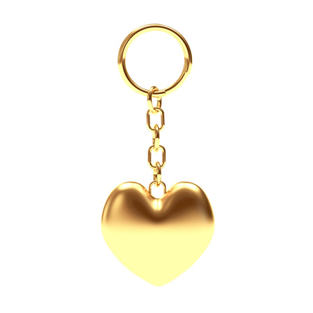 key chain: Golden key chain in the form of a heart isolated on white background. 3d Rendering. Stock Photo