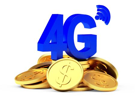 4g: Investments in modern technology. 4G symbol on a pile of golden coins isolated on white background. Stock Photo