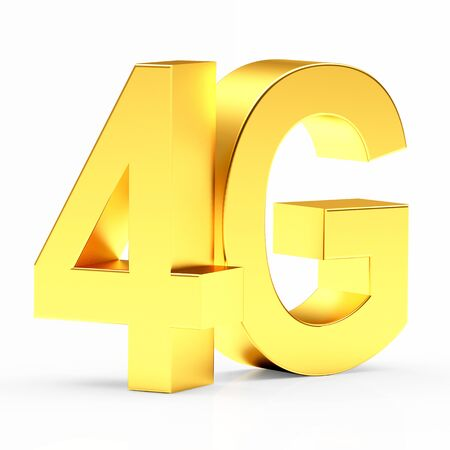 gprs: 4g mobile wireless communication symbol isolated on white background. 3d illustration