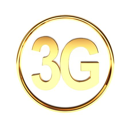 3g: Golden icon 3G mobile wireless communication isolated on white background. 3D Rendering.