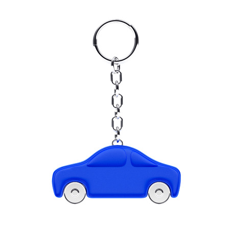 Key chain in the form of a blue car isolated on white background