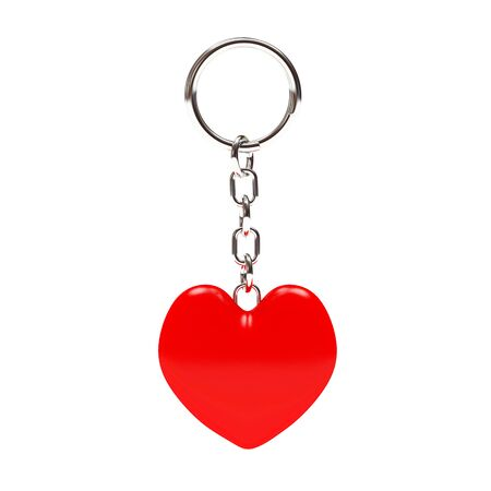 keyring: Key chain in the form of a red heart isolated on white background