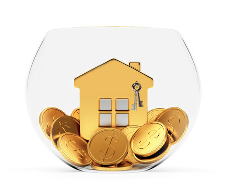 house exchange: Golden house standing on coins in a glass bowl isolated on white background