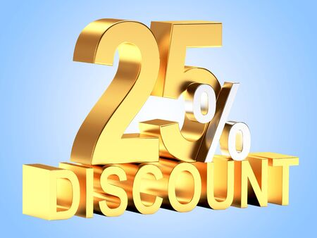 25: Golden 25 PERCENT and word DISCOUNT on blue background.