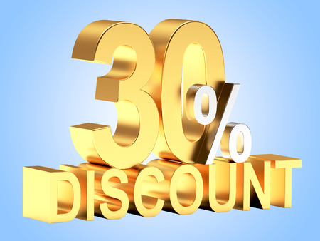 the 30: Golden 30 PERCENT and word DISCOUNT on blue background.