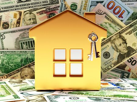 dollars: Golden house with keys on background of dollar bills. Stock Photo