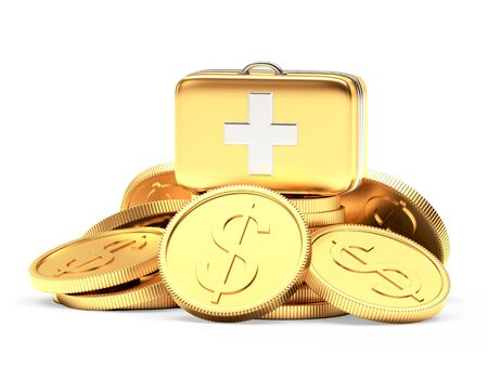 hospital expenses: Golden medical bag on a pile of coins isolated on white background. Stock Photo