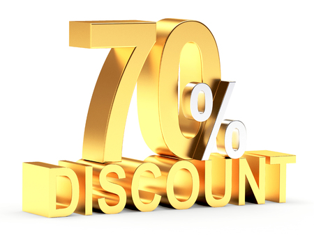 70: Golden 70 PERCENT and word DISCOUNT isolated on white background