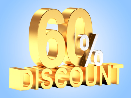 60: Golden 60 PERCENT and word DISCOUNT on blue background.