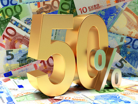 sellout: Golden 50 PERCENT on background of EURO bills.