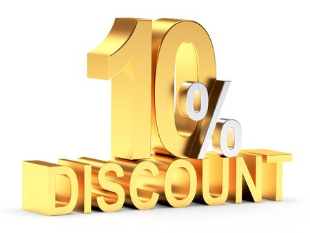 cost reduction: Golden 10 PERCENT and word DISCOUNT isolated on white background.