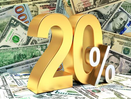 cost reduction: Golden 20 PERCENT on background of dollar bills Stock Photo