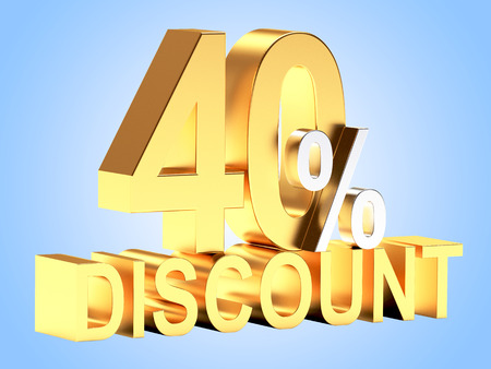 sell out: 40 percent discount on a pile of golden coins on blue background.