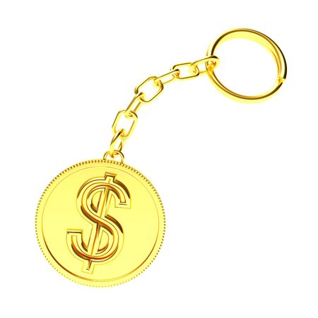 key chain: Golden key chain with dollar sign isolated on white background. 3D Rendering.