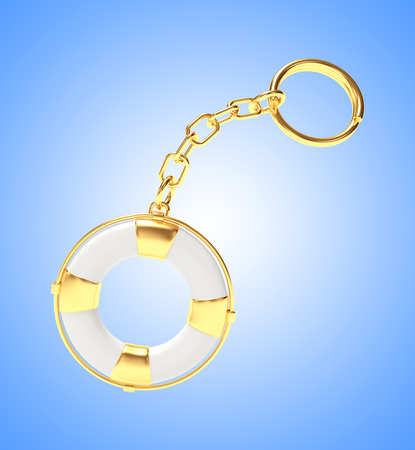keychain: Keychain in the form of lifebuoy on blue background. 3D illustration
