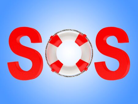 sos: Word SOS with lifebuoy on blue background. 3d illustration
