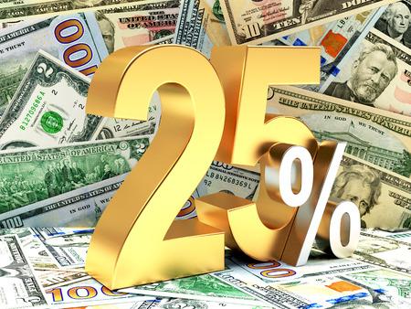 25: Golden 25 PERCENT on background of dollar bills. 3d illustration