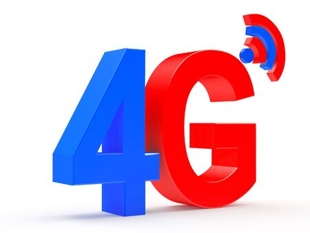 gprs: 4G mobile wireless communication colorful symbol isolated on white background. 3d illustration