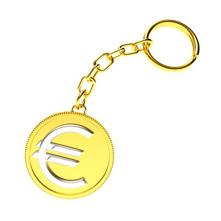 knickknack: Golden key chain with euro sign isolated on white background. 3D Rendering.