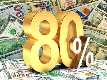 dollar bills: Golden 80 PERCENT on background of dollar bills. 3d illustration