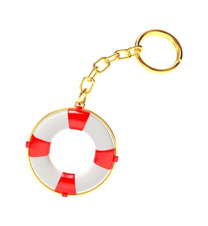 keychain: Keychain in the form of red lifebuoy isolated on white background. 3D illustration