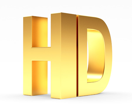 hd tv: Golden HD TV icon isolated on white background. 3d illustration