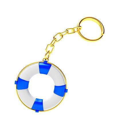 keyring: Keychain in the form of lifebuoy isolated on white background. 3D illustration Stock Photo