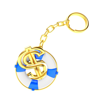 keychain: Keychain in the form of lifebuoy with dollar sign isolated on white background. 3D illustration