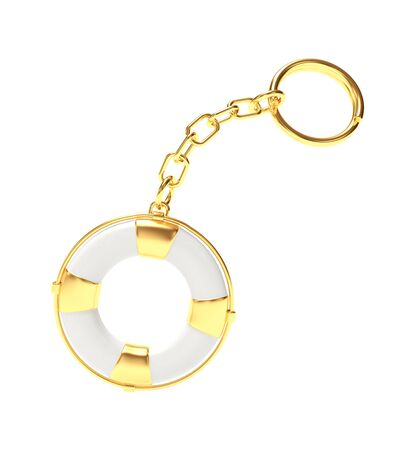 keychain: Keychain in the form of golden lifebuoy isolated on white background. 3D illustration Stock Photo