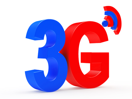 3g: 3g mobile wireless communication colorful symbol isolated on white background. 3d illustration
