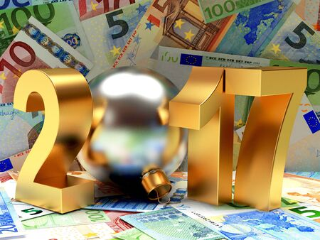 financial year: Business and financial concept. 2017 New Year on background of Euro bills. 3D illustration